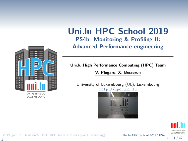 Performance engineering - UL HPC Tutorials