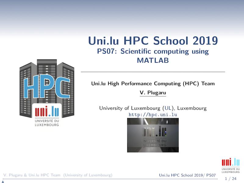 MATLAB - UL HPC Tutorials